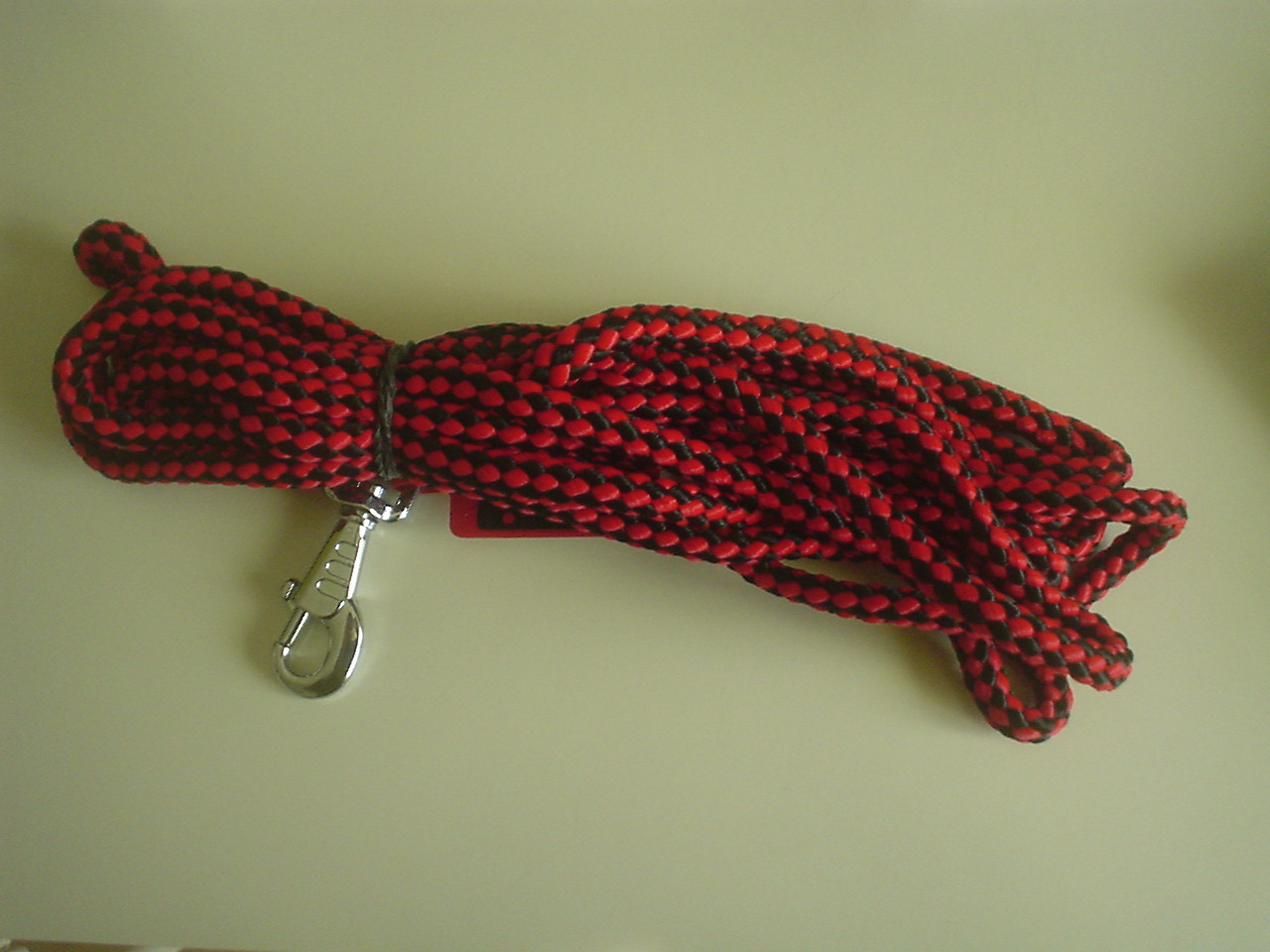 longe nylon noir et rouge 5 m pour chien
